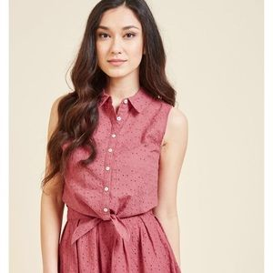 Modcloth Red Eyelet Blouse